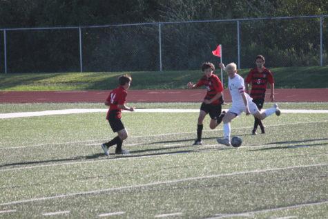Freshman Soccer Boys Hustle in the Second Half