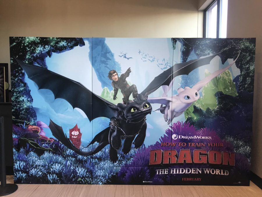 B & B Theater advertises the movie with a huge banner.