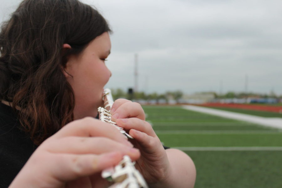 Emma Golz is dedicated to band and plays her flute with passion.