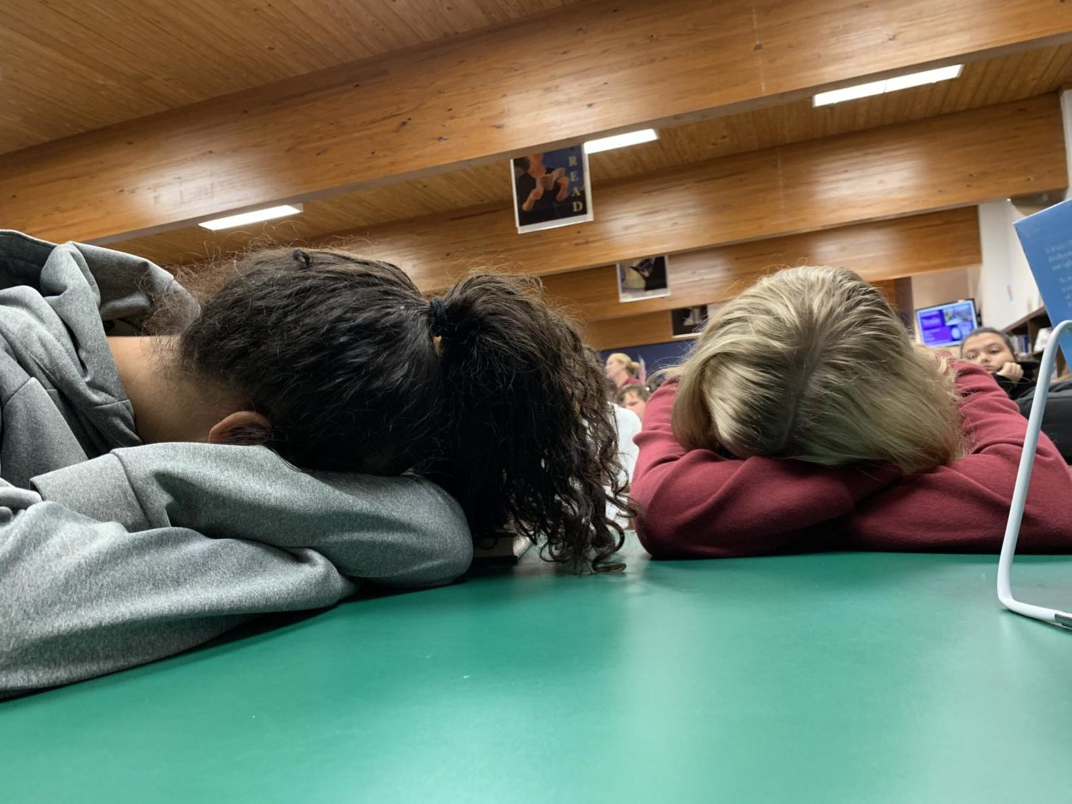 Students catch up on much needed sleep before school starts.