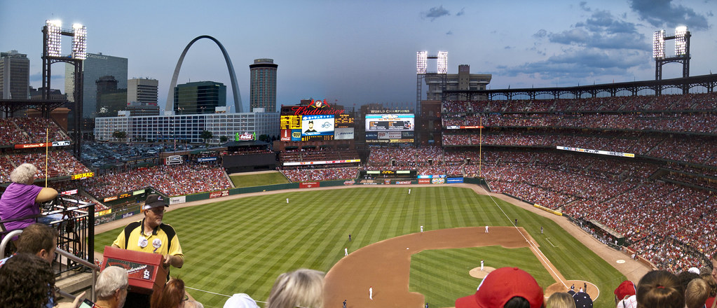 Busch Stadium during the seventh inning stretch in the 2019 playoff game against the Braves.