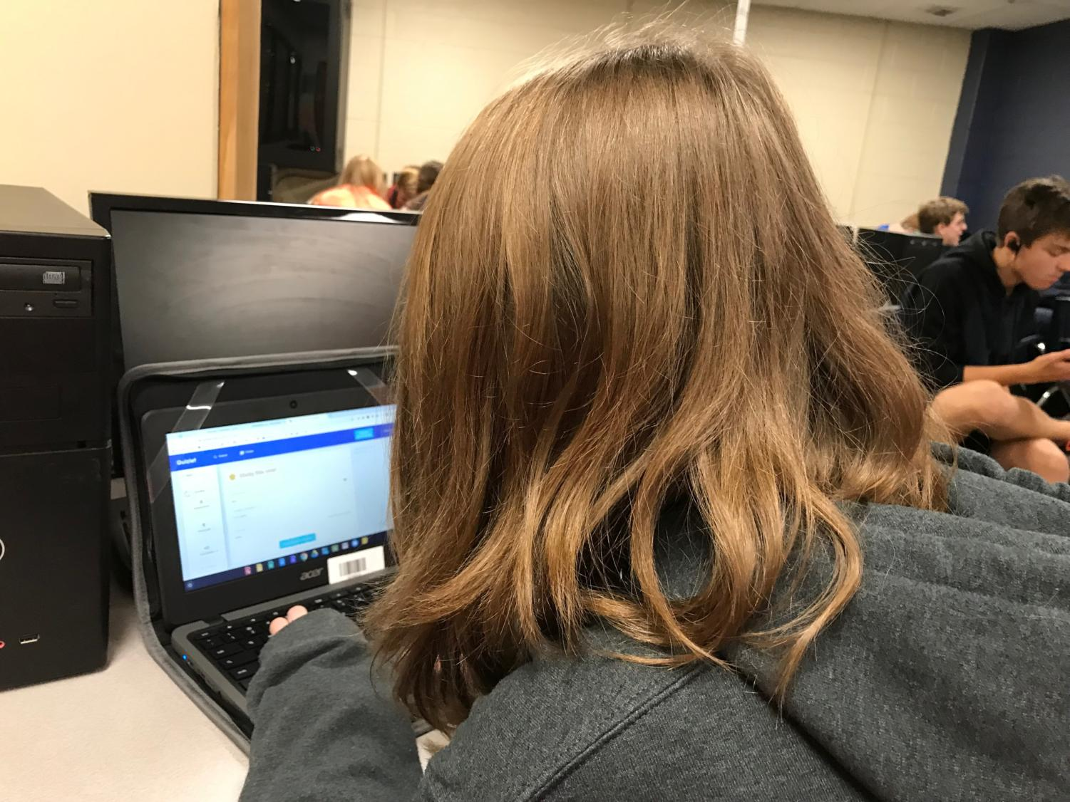 Hailey Smith ('23) studies on a computer for an upcoming test.
