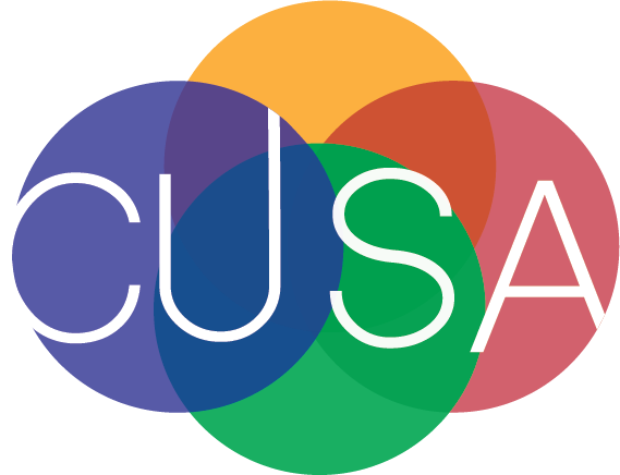 CUSA's logo was student made and is intended to convey a sense of integration with the intercrossing colors.
