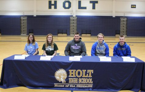 Five athletes at Holt prepare to sign for the next four years.