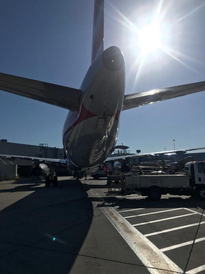 Jerry Scheuermann admires a plane after his flight.