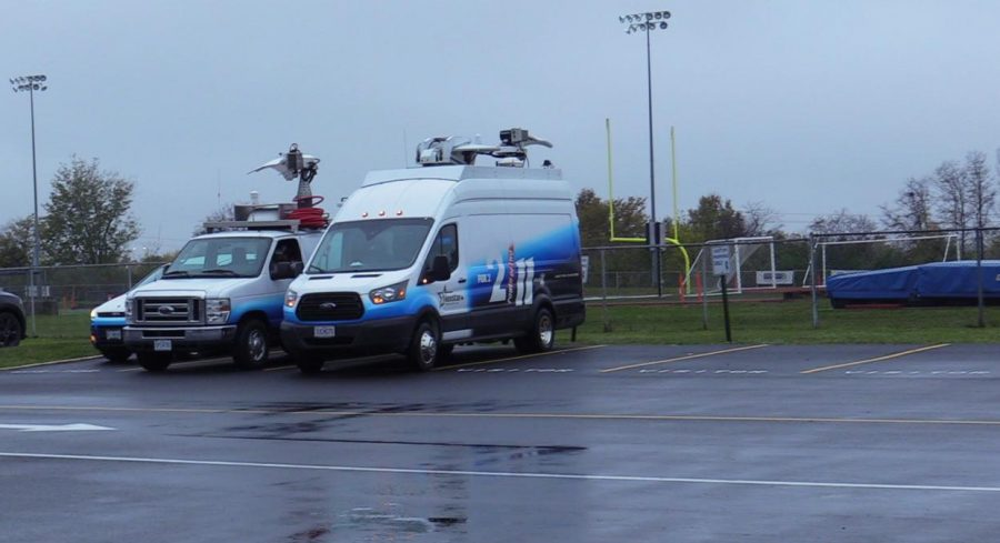 As fear of being quarantined rises, the news vans raised the tension.