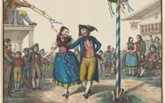 A painting of two people dancing around a Maypole to celebrate Beltane.