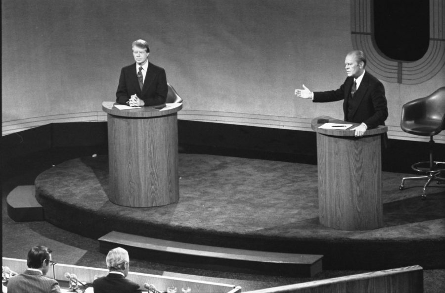 President+Gerald+Ford+and+Jimmy+Carter+Meet+at+the+Walnut+Street+Theater+in+Philadelphia+to+Debate+Domestic+Policy+during+the+First+of+the+Three+Ford-Carter+Debates.