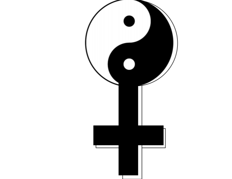 The image is a play on the feminine symbol, mixed with the classic martial arts yin and yang. The yin and yang represents balance, which is important for gender equality in martial arts.